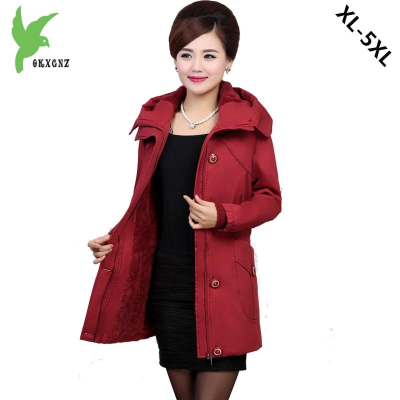 Plus Size 5XL New Middle aged Women Winter Cotton Jacket Flocking Coat Boutique Fashion Hooded Casual Warm Slim Parkas OKXGNZ989