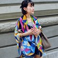 Цвет шить плед хлопок шарфы Женская мода геометрия Шарф