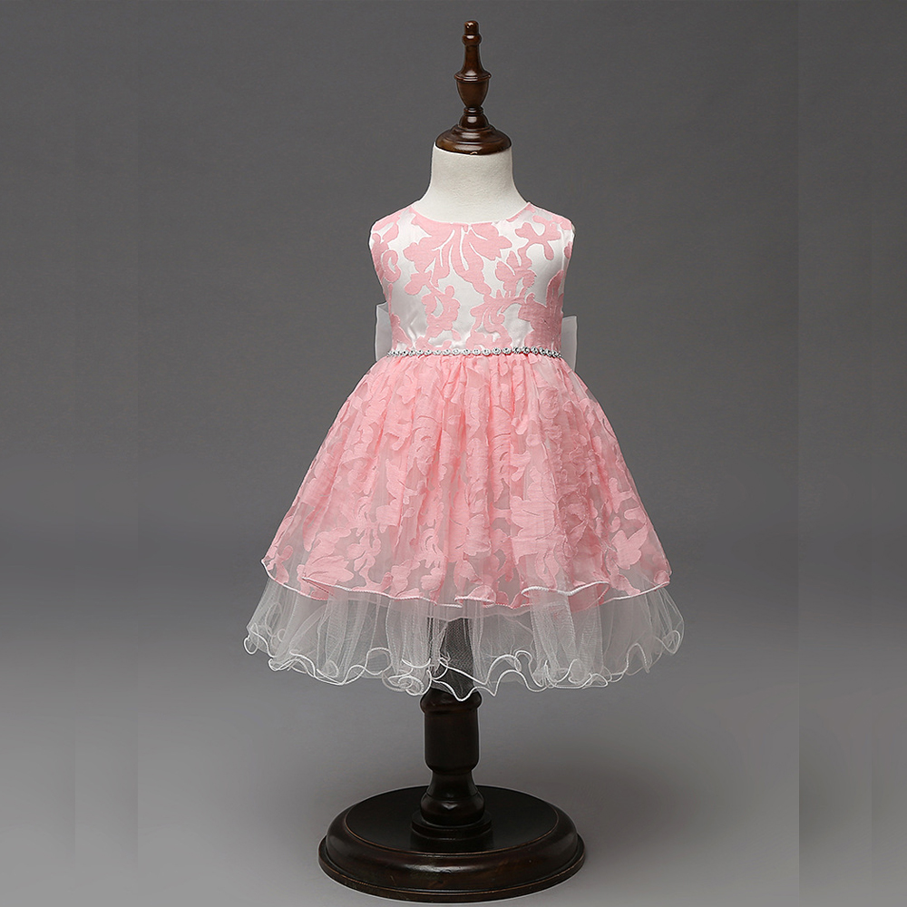 Summer Girls dress children clothing princess veil vest dress big bow full dresses girls ball gown party dress for infant kids ball gown dresses princess vest lace dress 2017 summer new children lovely clothes girls strap voile dress embroidery and bead