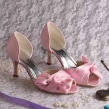 ปรับแต่งที่ทำด้วยมือผู้หญิงเปิดนิ้วเท้ารองเท้าเจ้าสาวรองเท้าสีชมพูกับโบว์ใหญ่