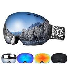 Лыжные очки, двухслойные, УФ, анти-туман, большая Лыжная маска, очки для катания на лыжах, сноуборде, очки для мужчин и женщин, лыжные очки
