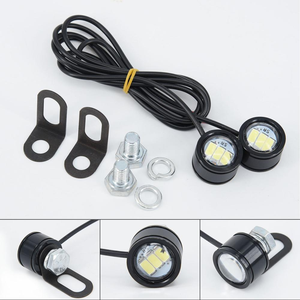 Image 2 - 2pcs 120LM Motorcycle White LED Spotlight Headlight Driving Light Fog Lamp 21.5*20*47mm moto accessories parts-in Electromobile from Automobiles & Motorcycles