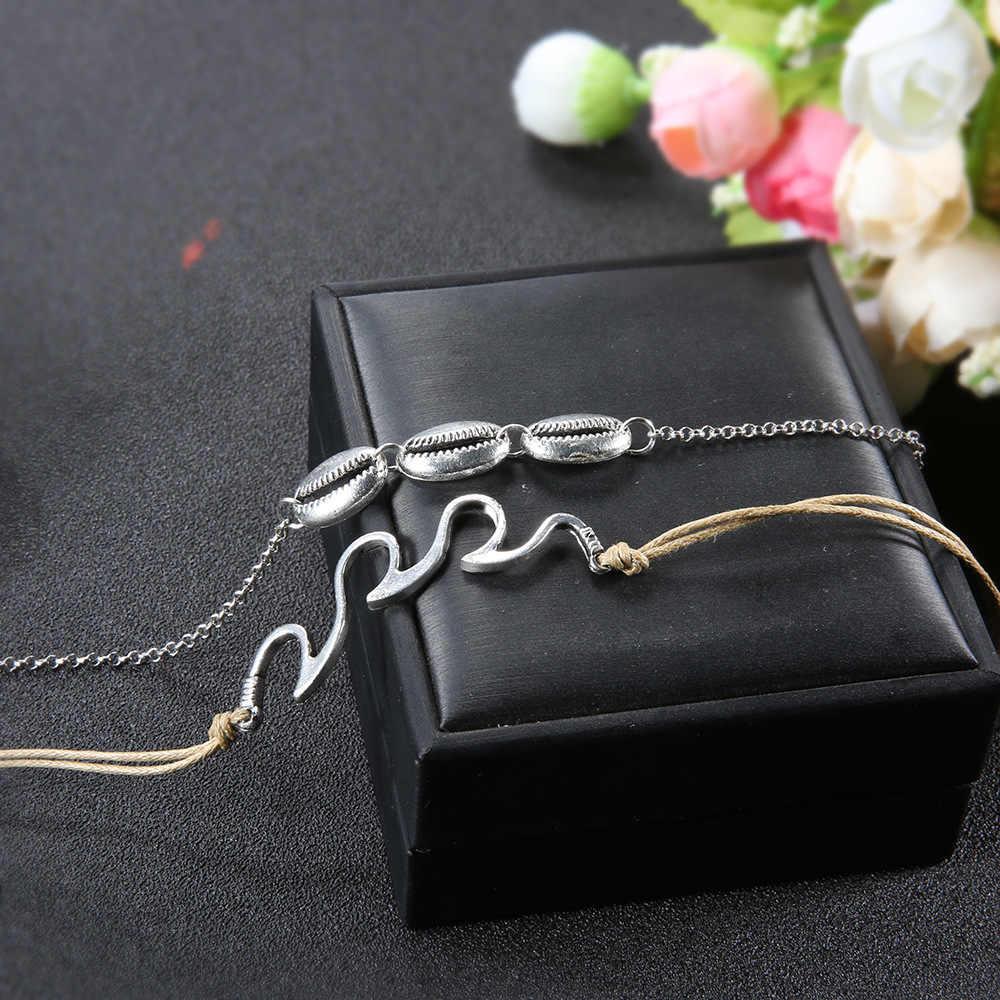 Artystyczna srebrna obrączka dla kobiet bransoletka na kostkę na łańcuszku na nogę sznurek linowy Wave Boho Anklet Beach biżuteria na stopy