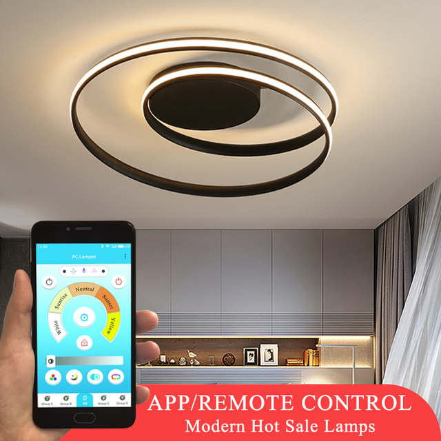 الثريا الحديثة لغرفة المعيشة غرفة نوم غرفة الدراسة أبيض أسود اللون سطح شنت الثريات تسليم أضواء ديكو AC85 265V