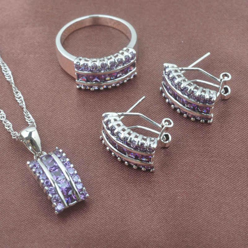 สไตล์รัสเซียชุดเครื่องประดับต่างหูคริสตัลธรรมชาติ Feminia ฤดูร้อนอุปกรณ์เสริมแหวนสร้อยคอจี้ TZ0143