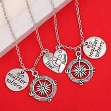 Best Friends No Matter Where Compass Necklace Set 2 Piece Broken Heart Necklace