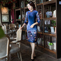 Новое Прибытие Винтаж Китайский Стиль Женщин Короткий Велюр Cheongsam Qipao лето Новинка Печати Sexy Dress Ml XL XXL XXXL F082422