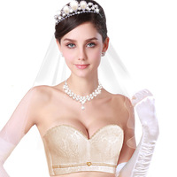 Womens Wedding Bra Push Up Invisible Bridal Bra 1 2 Cup Half Cup Padded Floral Embroidery