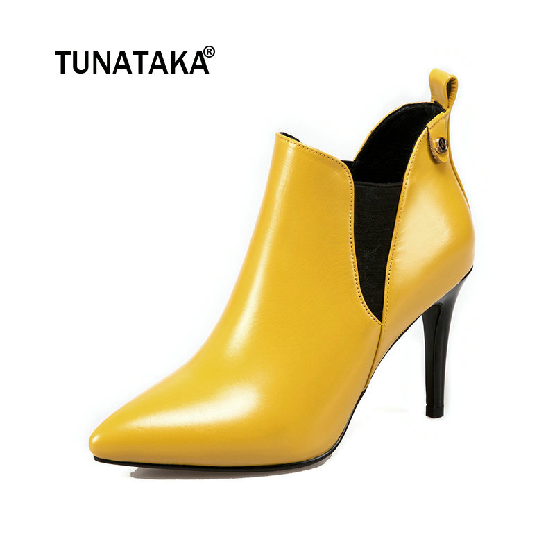 New Autumn Women Genuine Leather Thin High Heel Chelsea Boots Fashion Pointed Toe Slip On Ankle Boots Black Yellow Red new arrival genuine leather pointed toe fashion winter boots rivets thick heel slip on chelsea boots handmade ankle boots l93