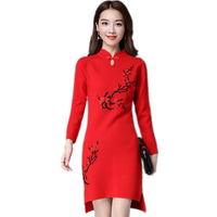 2019 Autumn winter women knit sweater embroidered retro Chinese style cheongsam embroidered Single Button cashmere dresses SUN36