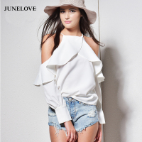 JuneLove 2017 New Spring Summer Halter Neck Cami Tops Cold Off Shoulder Ruffles Long Sleeved Women