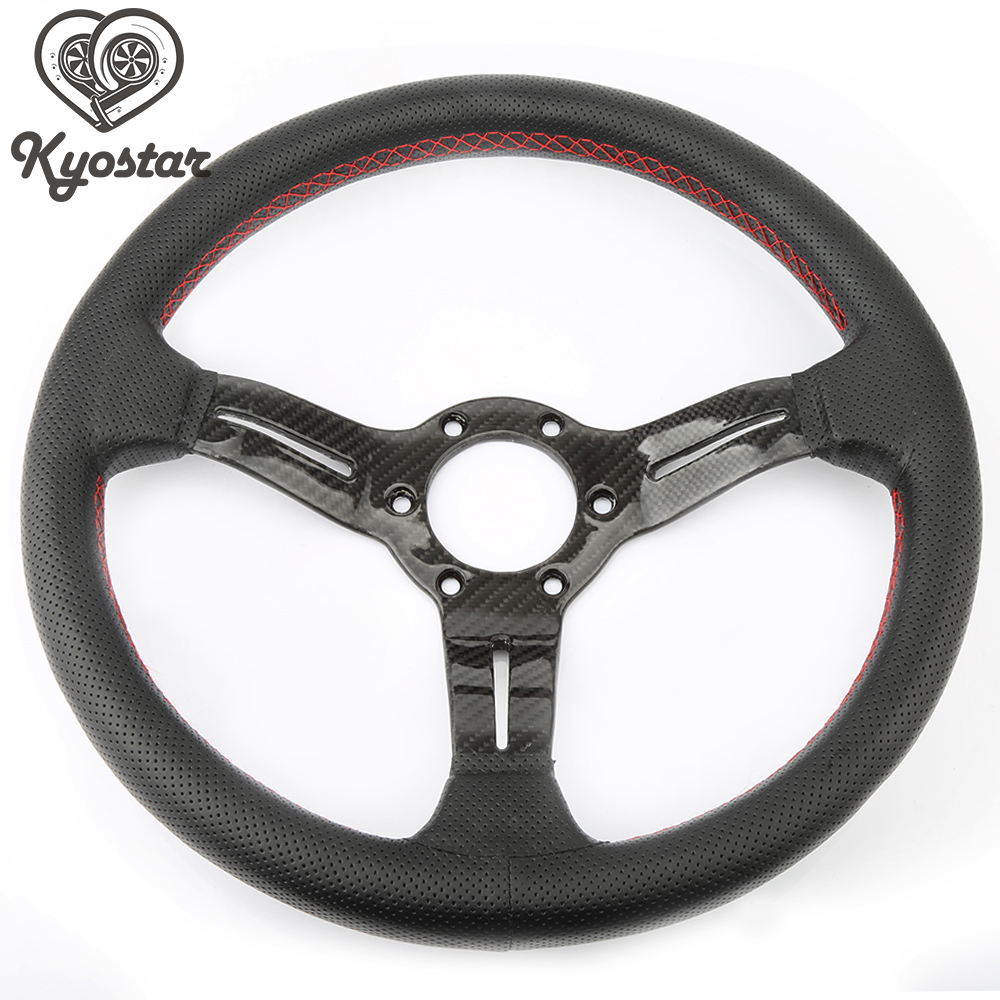 330mm Leather steering wheel with carbon fiber spoke jdm steering wheel with ND Horn new 320mm yellow pvc sport spoke car racing steering wheel carbon firbre horn button ep fxp06om p
