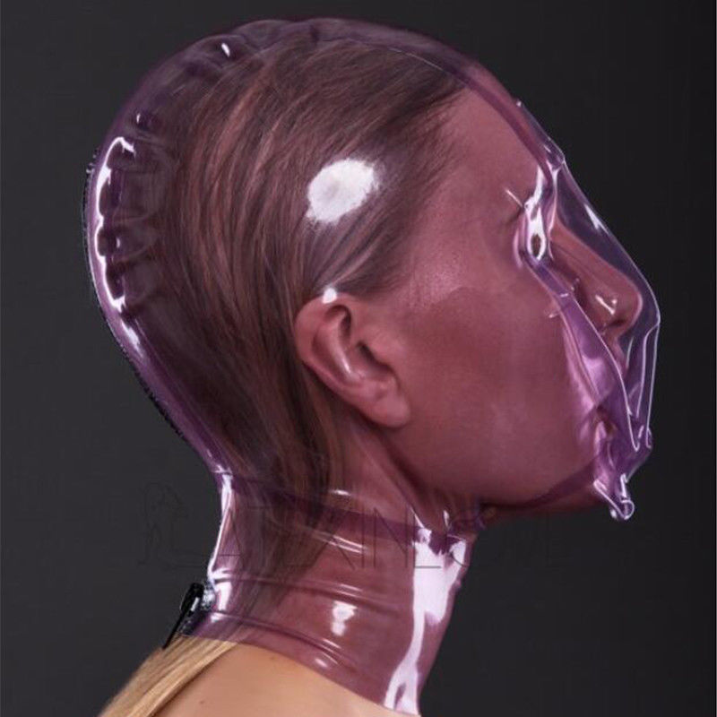 Latex Hood with Breath Control Hole for Play Suffocating Rubber Mask Club Wear