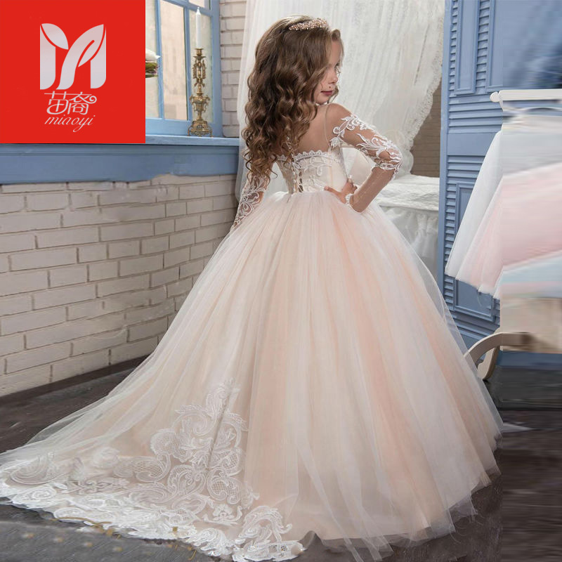 2017 New Champagne Puffy Lace Flower Girl Dress for Weddings Long Sleeves Ball Gown Girl Party Communion Pageant Gown 4pcs new for ball uff bes m18mg noc80b s04g