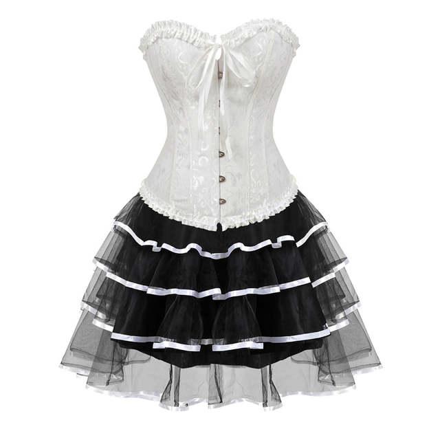 bbc8acfa58d Online Shop Sapubonva gothic burlesque corset and skirt set plus size  halloween costumes victorian corset dresses party floral fashion sexy