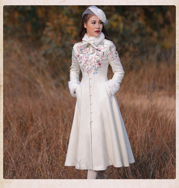 2016 Winter Women Coat Vintage Retro Embroidery Single Breasted Fur Collar Woolen Outerwear Coat real photo