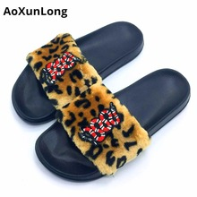 ФОТО aoxunlong new flip flop cute embroidery snake fur slippers women slides home slippers pink 36-41 tongs femme ete women slippers