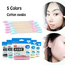 Фотография 100Pcs/pack Cotton Swabs Safe Colorful Candy Color Cotton Swab Stick Health Care Cotton Tipped Makeup Tools Cotton Buds W20
