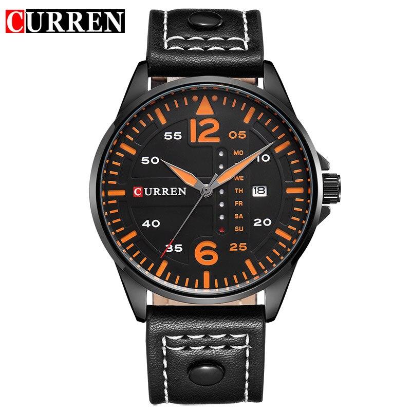 Prix pour CURREN Marque De Luxe Relogio Masculino Date En Cuir Casual Montre Homme Sport Montres Quartz Militaire Montre-Bracelet Homme Horloge 8224