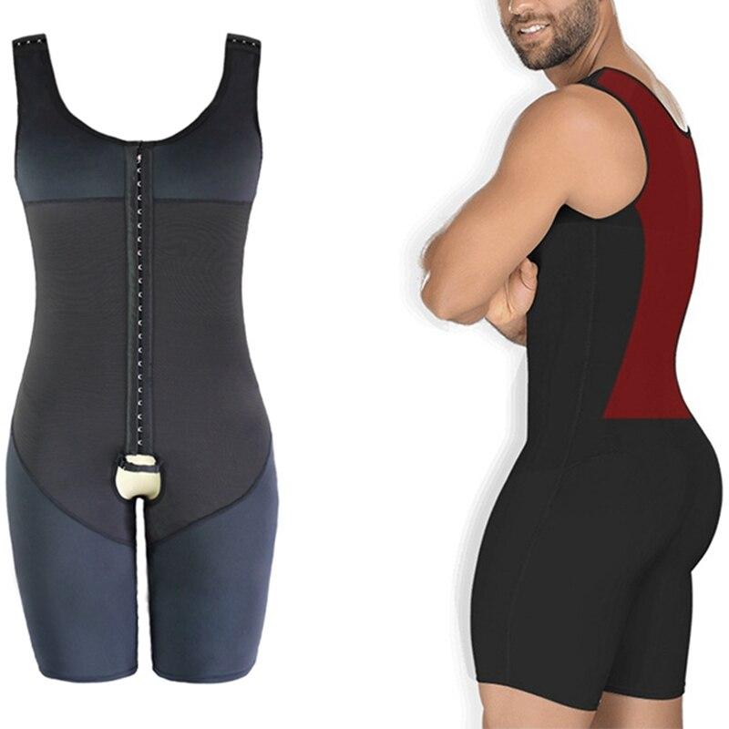 Men Waist Trainer Full Body Shaper Vest Abdomen Plus Size 6XL Steel Boned Bodysuit Open Crotch Male Slim Fit Tighten Underwear|Shapers| |  - title=