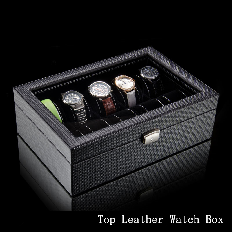 Top Leather Watch Box Black 10 Grids Watch Storage Boxes Fashion Brand Watch Display Box Watch Gift Cases B038 carbon fiber pattern brand watch box black pu leather watch display boxes with lock fashion men s women s storage gift box c032