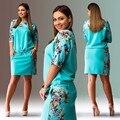Impresión de moda mujer vestidos tallas grandes NUEVO 2015 más mujeres del tamaño 6xl ropa mini vestido ocasional del o-cuello Vestido ajustado oficina