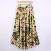 Free Shipping TOp Quality Blend Linen Long Shirt Casual Skirt Spring Summer Skirts Chinese Style Bohemian