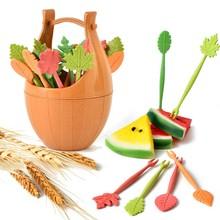 16pcs Green Biodegradable Wheat Straw Leaves Fruit Fork Set Party Cake Salad Vegetable Forks Picks Table Decor Tools