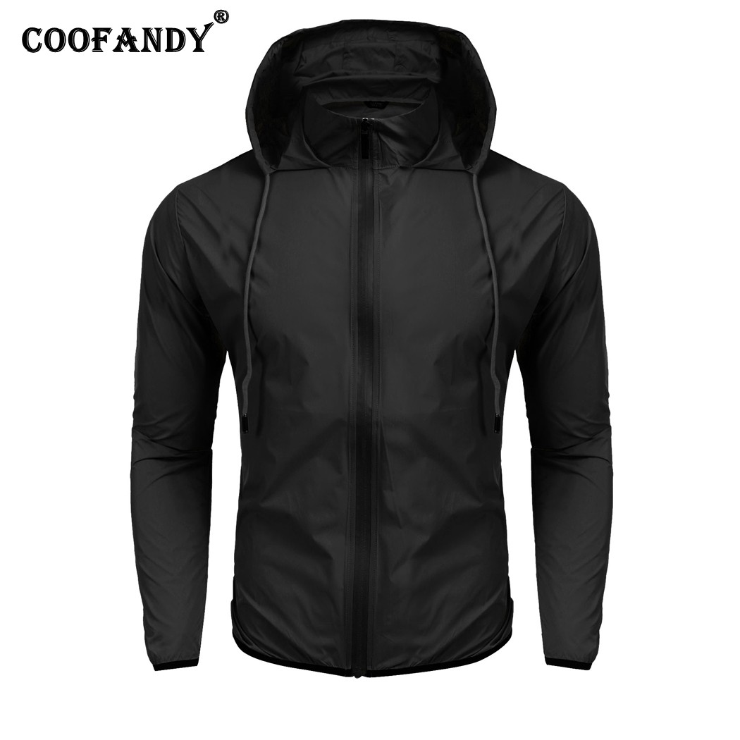 COOFANDY Men Long Sleeve Thin Waterproof Jacket Windbreaker Rain Coat Outerwear Casual S ...