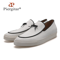 PIERGITAR 2018 Handmade white canvas men sneakers with black leather tassel and leather insole white outsole men's casual shoes