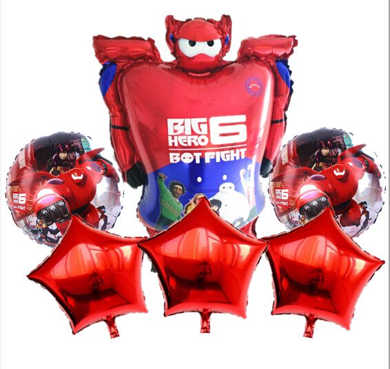 NEW Theme 6Pcs Cartoon Big Hero 6 Foil Helium Balloons Birthday Party Wedding Decorations Baymax Balloon Childrens Toys