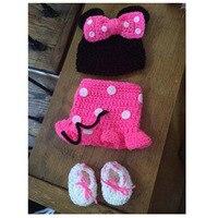 Nova chegada minnie fotografia adereços para recém-nascidos de crochê menina chapéus outfits + saias + sapatos 3 pc define bebê beanie roupas adereços foto