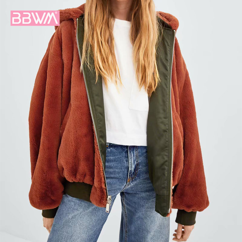 Long sleeve black 2018 winter new women's double sided wearing bomber jacket jacket wild loose faux fur hooded women's jacket