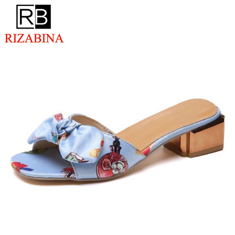 RizaBina Women High Heel Sandals Open Toe Thick Heel Bow-Not Print Flower Ladies Sandals Elegant Shoes Party Footwear Size 35-39 hzxinlive elegant summer sandals women high heel wedges shoes woman round toe roman sandals ladies footwear female casual shoes