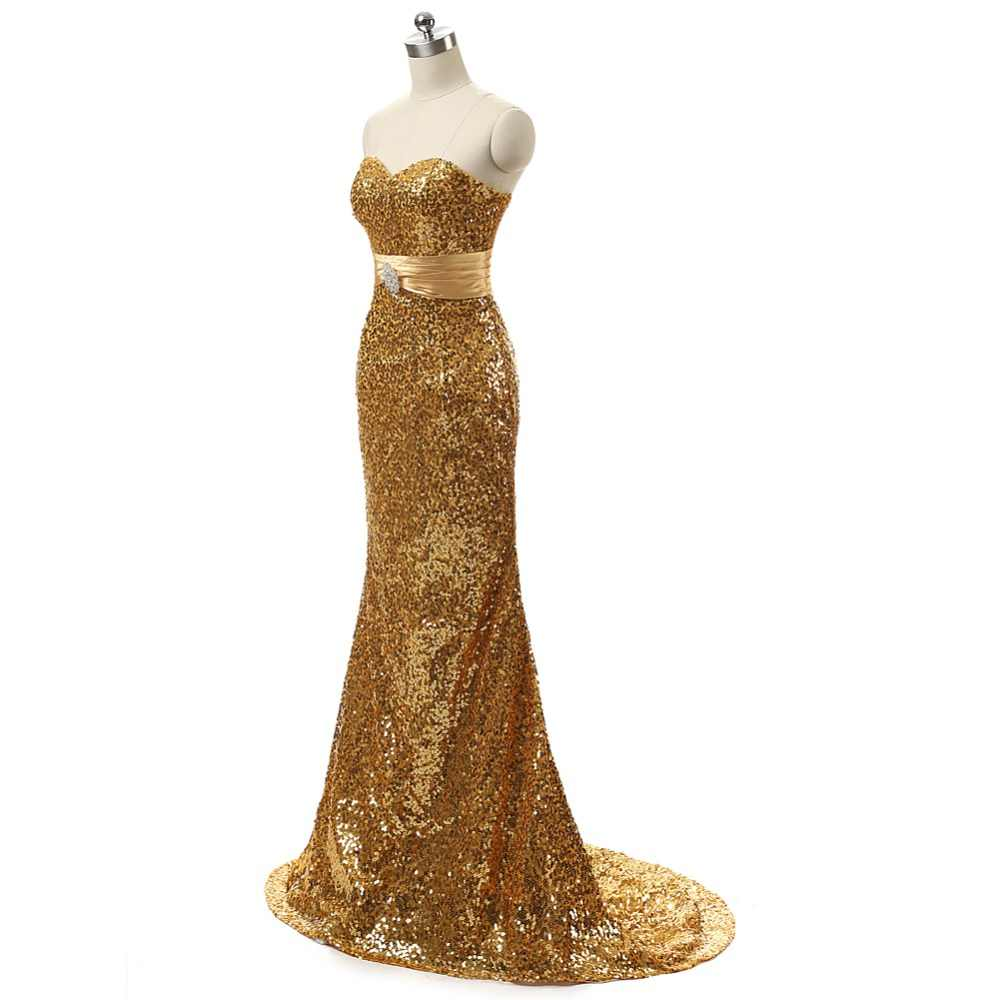 ... ruthshen Reflective Dress Mermaid Gold Sequin Long Evening Dress  Sweetheart Crystals Cheap Special Occasion Dresses In ... 531cc13b2b01