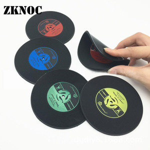 1/4Pcs/set CD Mat Retro Vinyl Record Drinks Coasters Table Cup Mat Coffee Placemat PVC Printed Pattern Anti-fade Home Decor(China)