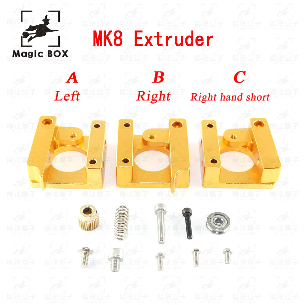цена на MK8 Extruder Aluminum Alloy Block For 1.75mm Filament Extrusion 3D Printer Parts Right Left Short Hand Part DIY Accessories Kit
