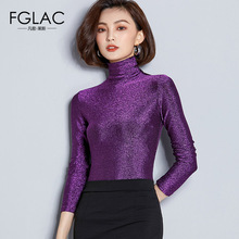 FGLAC Women t-shirts New Arrivals 2018 Autumn long sleeve Turtleneck Mesh tops Elegant Slim Solid color plus size women shirt