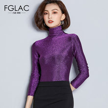 FGLAC Women t-shirts New Arrivals 2018 Autumn long sleeve Turtleneck Mesh tops Elegant Slim Solid color plus size women shirt(China)