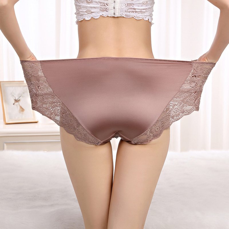 Thin Large Size High Waist   Panties   for Women Underwear Ladies Big Size Briefs Plus Size Floral Satin Sexy Lace   Panties   Female