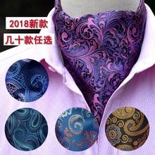 Formal Cravat Ascot Scrunch Self Ties Gentleman Polyester Silk Scarves Neck Tie Luxury Paisley Pattern
