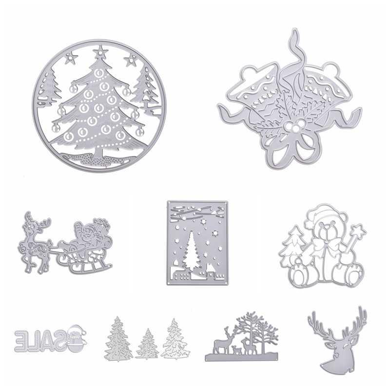 Санта-Клаус, снеговик, резные штампы, рождественские металлические трафареты для пресс-формы, высечки для DIY скрапбукинга, альбом, тиснение бумаги