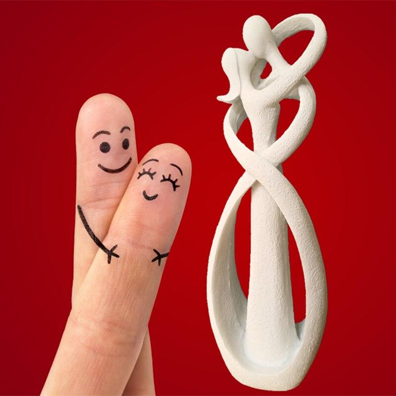 Handicraft Arts And Crafts 9 Inch Sandstone White Kissing Lover Figurines Wedding Decoration Anniversary Souvenirs Vintage Decor