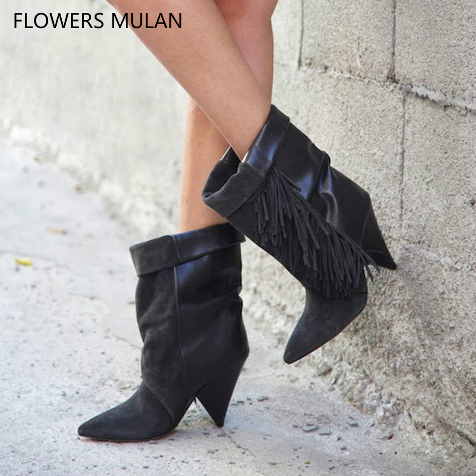 European Hot Selling Fringe Ankle Boots For Women Pointed Toe Patchwork Suede Leather Upper Spike Heels Winter Spring Shoes Lady hot selling chic stylish black grey suede leather patchwork boots mid calf spike heels middle fringe boots side tassel boots