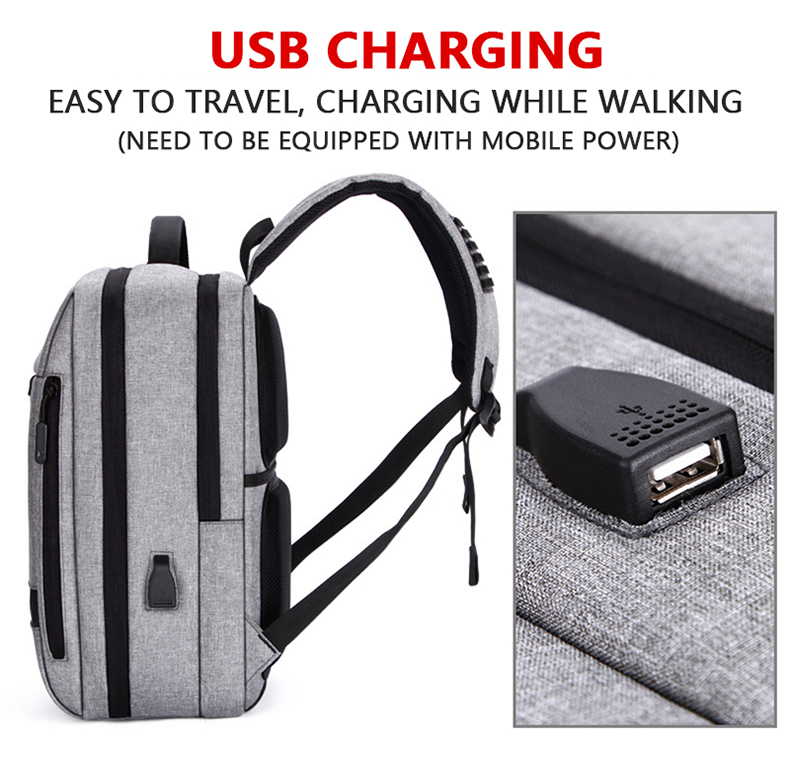 HTB1G.TyavjsK1Rjy1Xaq6zispXaj - Mens Casual USB Charging Work Backpack Large Space Short Trip Male Waterproof