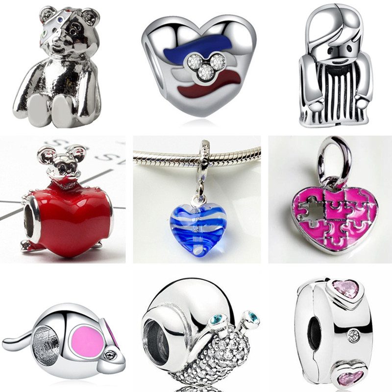 Beads Fit Bracelets Charms Pendants Shoe-Snail Hearts Baby-Girl Bear High-Quality Women