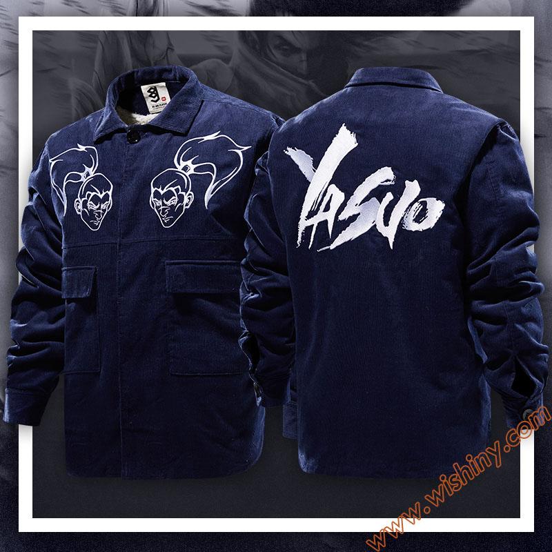 High Quality LOL Yasuo Jackets LOL Hero S7 Winter Fleece Blue Coats For Men Boys
