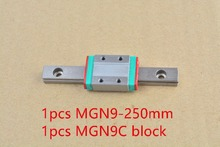9mm carril linear mr9 guía longitud 250mm con mgn9c o mgn9h mgn9 miniatura de bloque lineal linear motion guía manera 1 unids