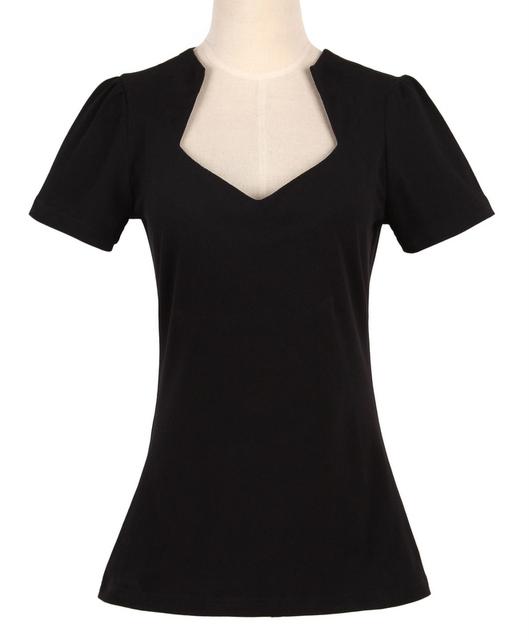 Compras en línea de estilo de la vendimia de las mujeres diseñadores de camisetas negro sexy ladies club wear clothing 50's rockabilly dropship venta al por mayor