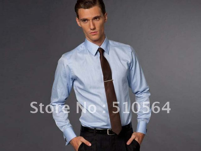 66a309f535 Custom made men Cotton shirt Business casual men slim shirt Fit your body  well light blue shirt